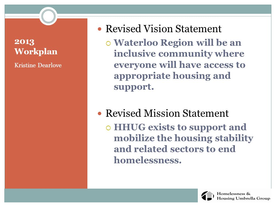 2013 Workplan Kristine Dearlove Revised Vision Statement  Waterloo Region will be an inclusive community where everyone will have access to appropriate housing and support.