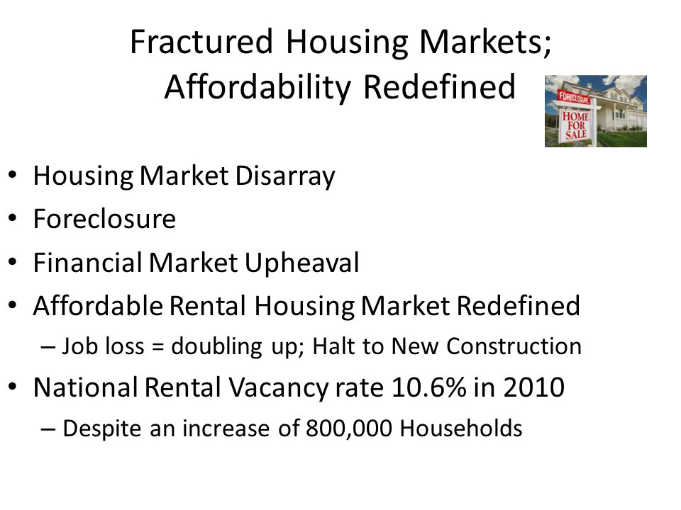 Fractured Housing Markets; Affordability Redefined Housing Market Disarray Foreclosure Financial Market Upheaval Affordable Rental Housing Market Rede