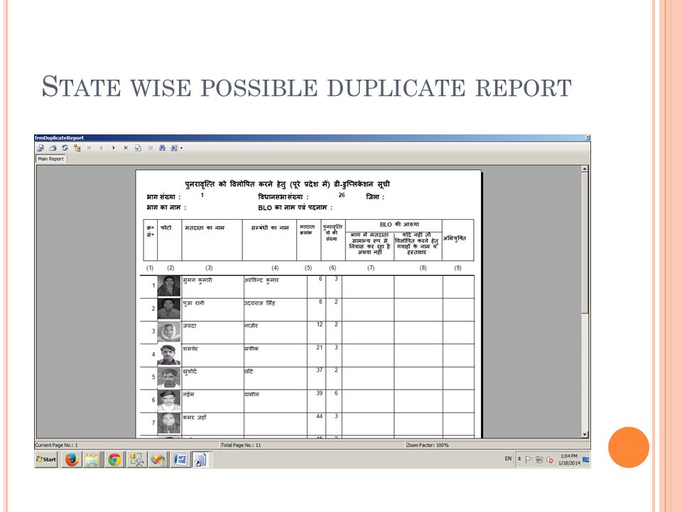 S TATE WISE POSSIBLE DUPLICATE REPORT