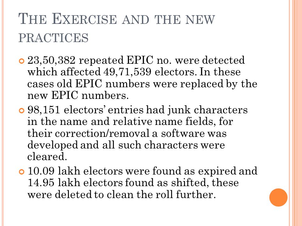 T HE E XERCISE AND THE NEW PRACTICES 23,50,382 repeated EPIC no.