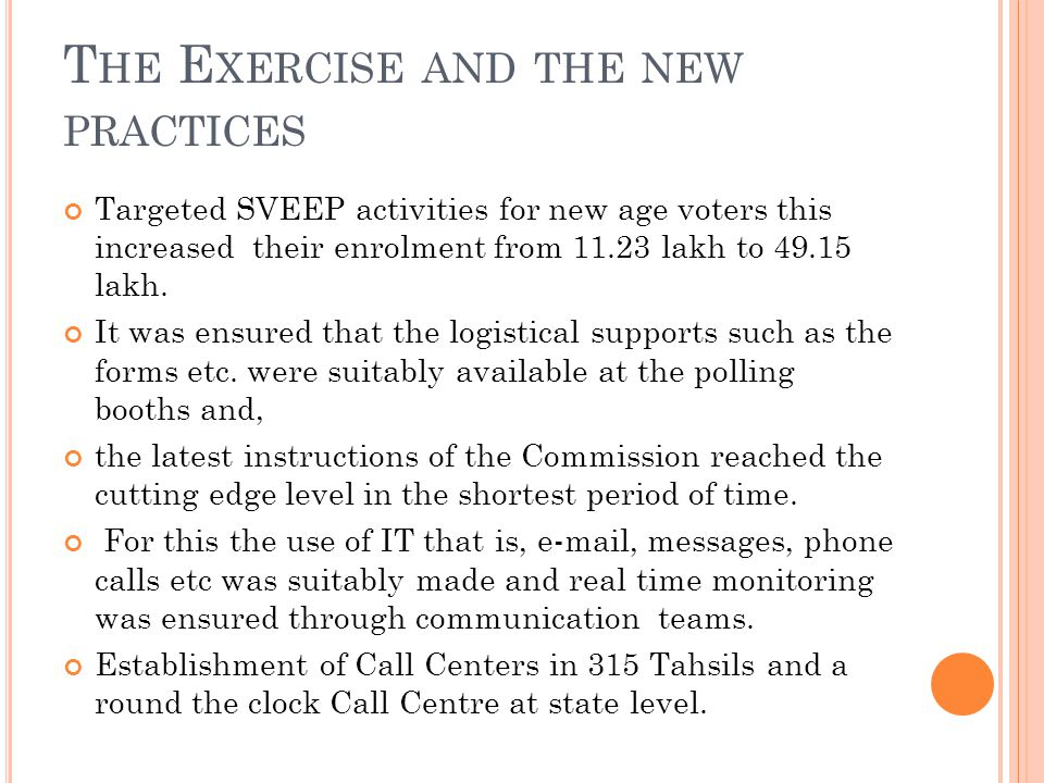 T HE E XERCISE AND THE NEW PRACTICES Targeted SVEEP activities for new age voters this increased their enrolment from 11.23 lakh to 49.15 lakh.