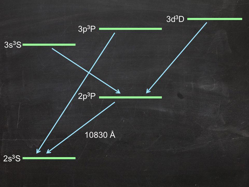 2p 3 P 3s 3 S 2s 3 S 3p 3 P 3d 3 D 10830 Å