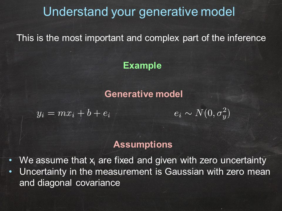 Understand your generative model This is the most important and complex part of the inference We assume that x i are fixed and given with zero uncertainty Uncertainty in the measurement is Gaussian with zero mean and diagonal covariance Example Generative model Assumptions