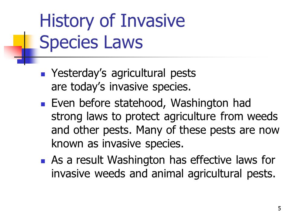 5 History of Invasive Species Laws Yesterday's agricultural pests are today's invasive species. Even before statehood, Washington had strong laws to p