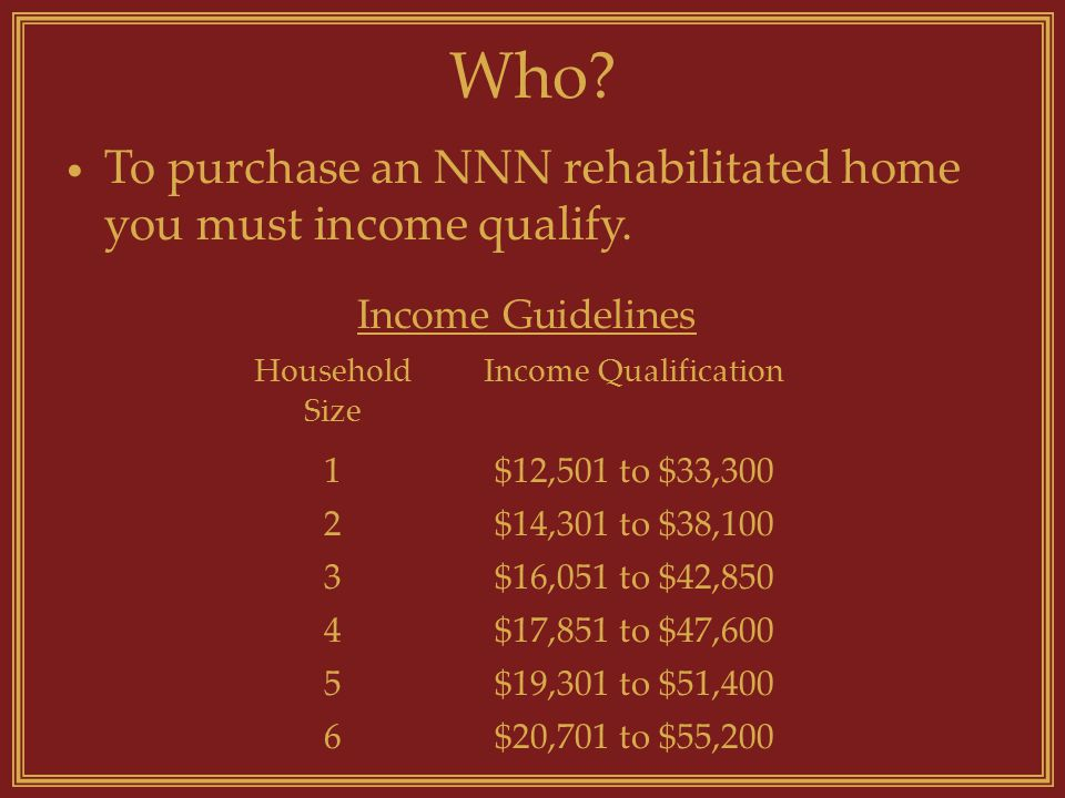 Who? Household Size Income Qualification 1$12,501 to $33,300 2$14,301 to $38,100 3$16,051 to $42,850 4$17,851 to $47,600 5$19,301 to $51,400 6$20,701