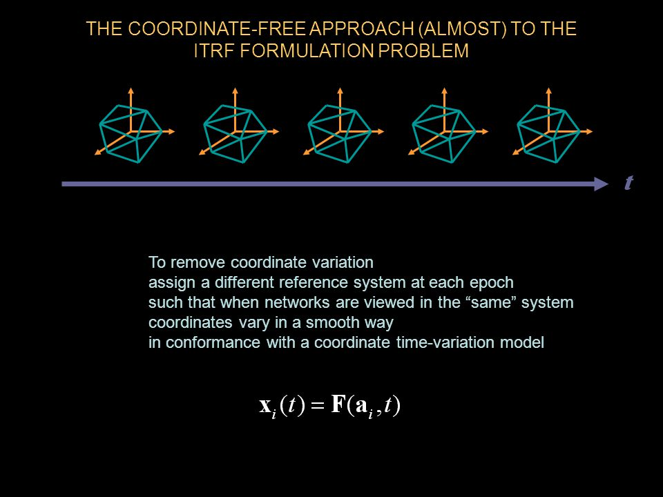 THE COORDINATE-FREE APPROACH (ALMOST) TO THE ITRF FORMULATION PROBLEM To remove coordinate variation assign a different reference system at each epoch such that when networks are viewed in the same system coordinates vary in a smooth way in conformance with a coordinate time-variation model t
