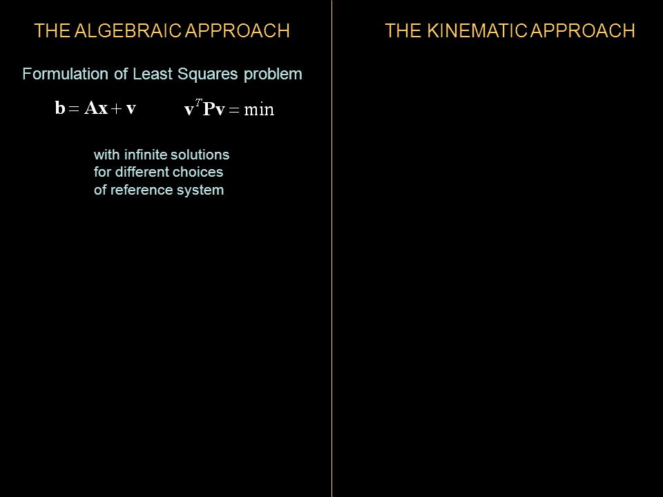 THE ALGEBRAIC APPROACH Formulation of Least Squares problem with infinite solutions for different choices of reference system THE KINEMATIC APPROACH