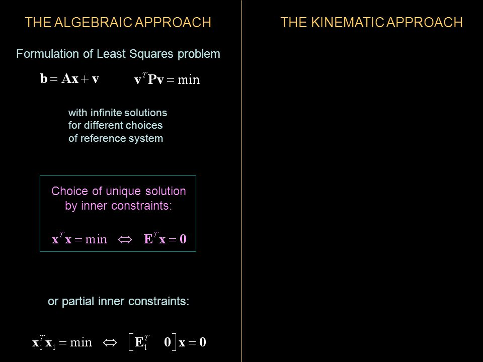 THE ALGEBRAIC APPROACH Formulation of Least Squares problem with infinite solutions for different choices of reference system or partial inner constraints: Choice of unique solution by inner constraints: THE KINEMATIC APPROACH