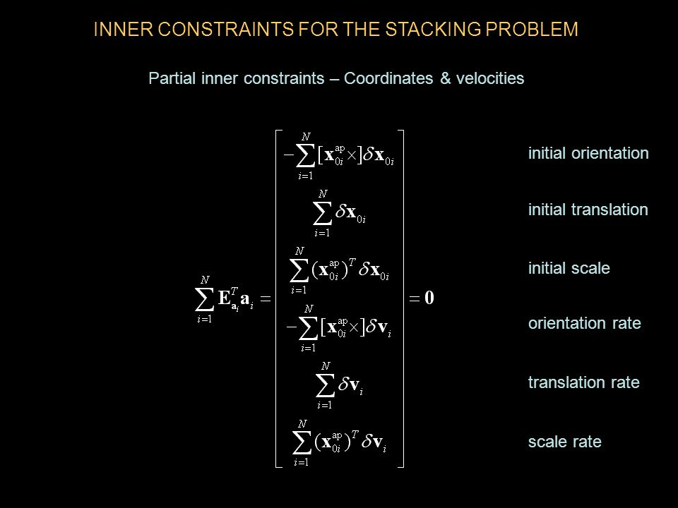 INNER CONSTRAINTS FOR THE STACKING PROBLEM Partial inner constraints – Coordinates & velocities initial orientation initial translation initial scale orientation rate translation rate scale rate