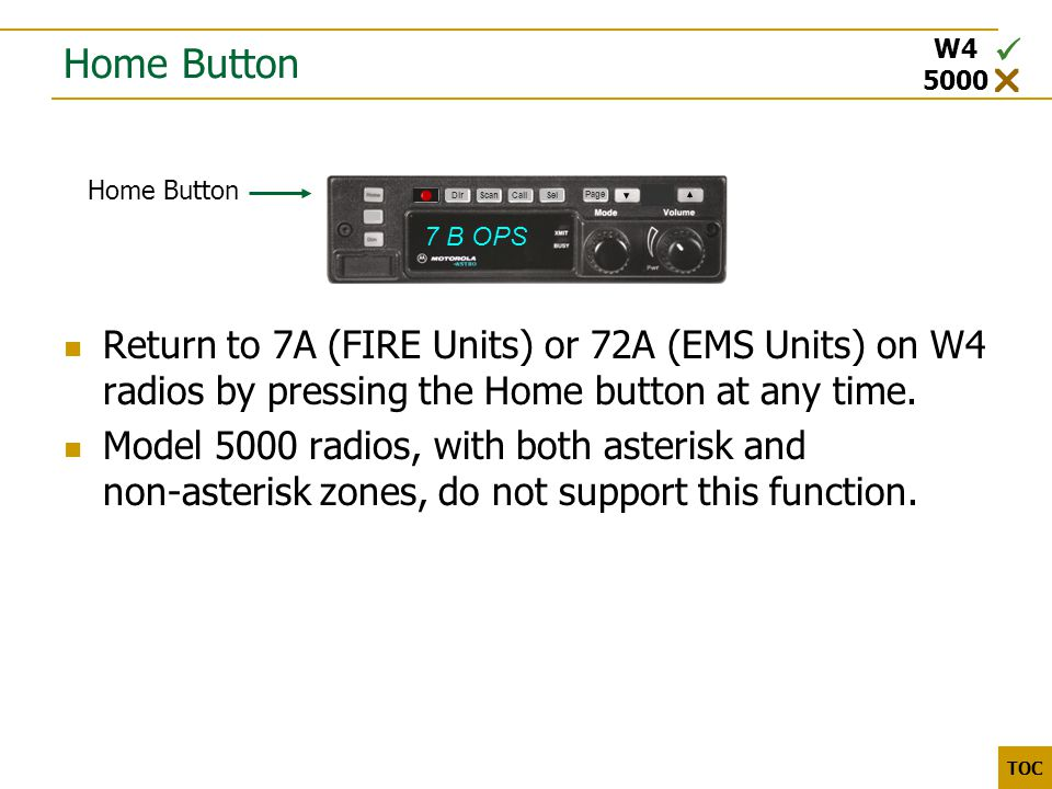 3000 5000 TOC Home Button Return to 7A (FIRE Units) or 72A (EMS Units) on W4 radios by pressing the Home button at any time.