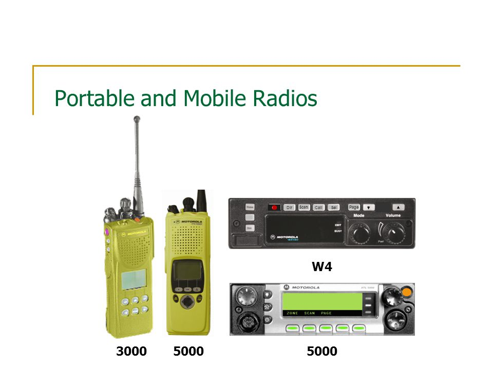 Portable and Mobile Radios 3000 5000 Scan Dir Page Call Sel W4 5000