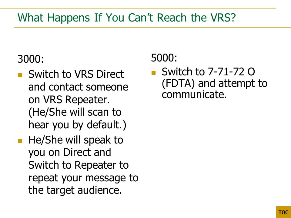 3000 5000 TOC What Happens If You Can't Reach the VRS.
