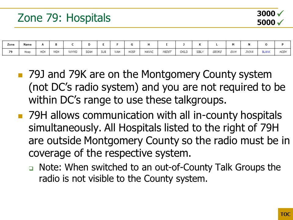 3000 5000 TOC Zone 79: Hospitals 79J and 79K are on the Montgomery County system (not DC's radio system) and you are not required to be within DC's range to use these talkgroups.
