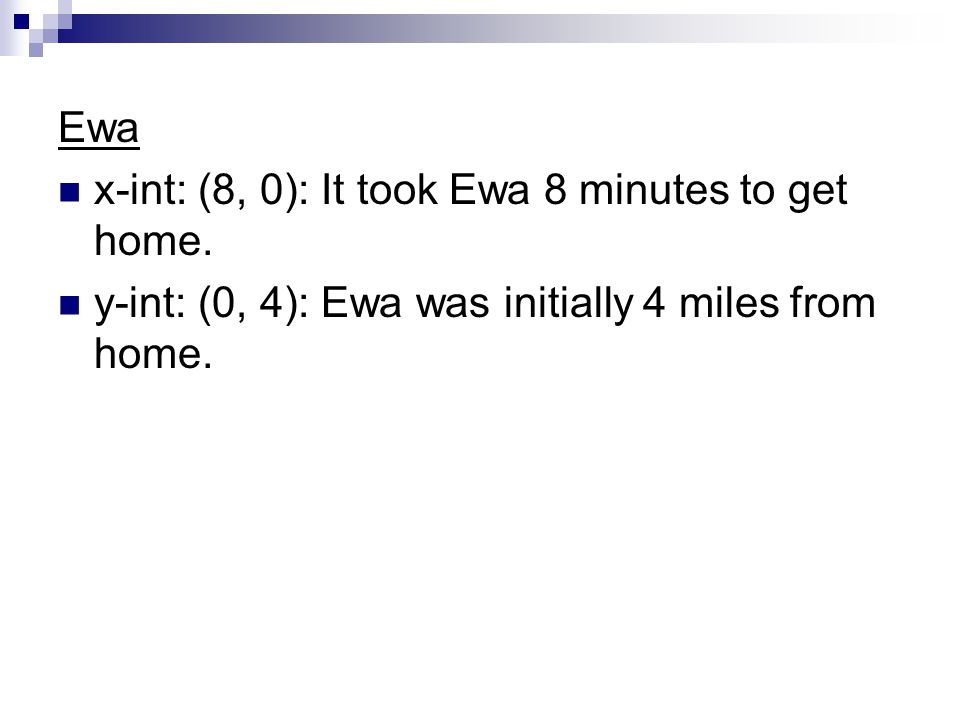 Ewa x-int: (8, 0): It took Ewa 8 minutes to get home. y-int: (0, 4): Ewa was initially 4 miles from home.