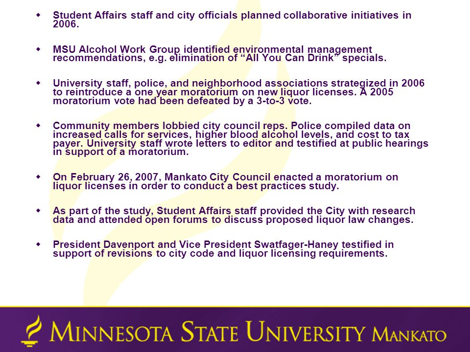  Student Affairs staff and city officials planned collaborative initiatives in 2006.