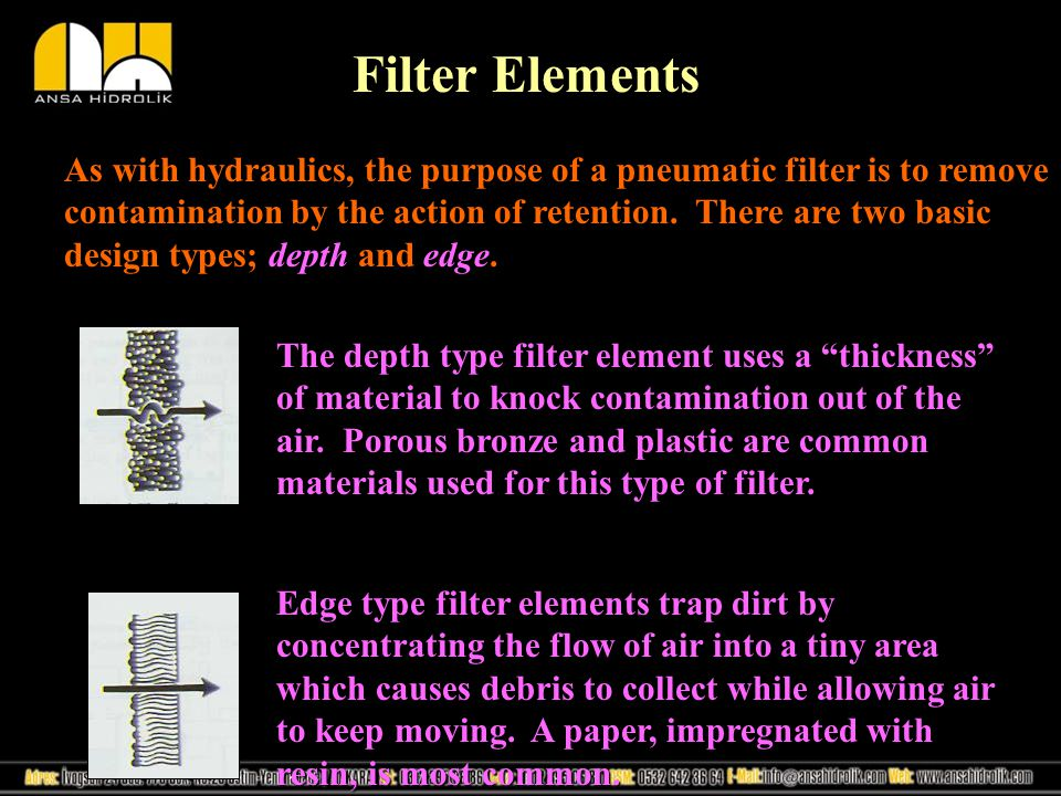 Filter Elements As with hydraulics, the purpose of a pneumatic filter is to remove contamination by the action of retention.