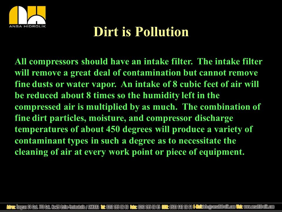 Dirt is Pollution All compressors should have an intake filter.