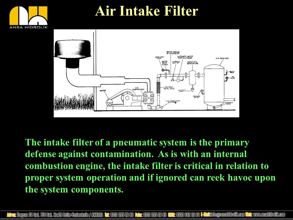 Air Intake Filter The intake filter of a pneumatic system is the primary defense against contamination.