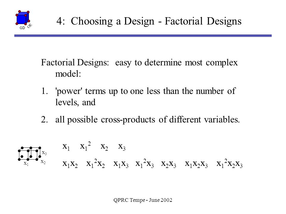 GD OE QPRC Tempe - June 2002 4: Choosing a Design - Factorial Designs Factorial Designs: easy to determine most complex model: 1. power terms up to one less than the number of levels, and 2.all possible cross-products of different variables.