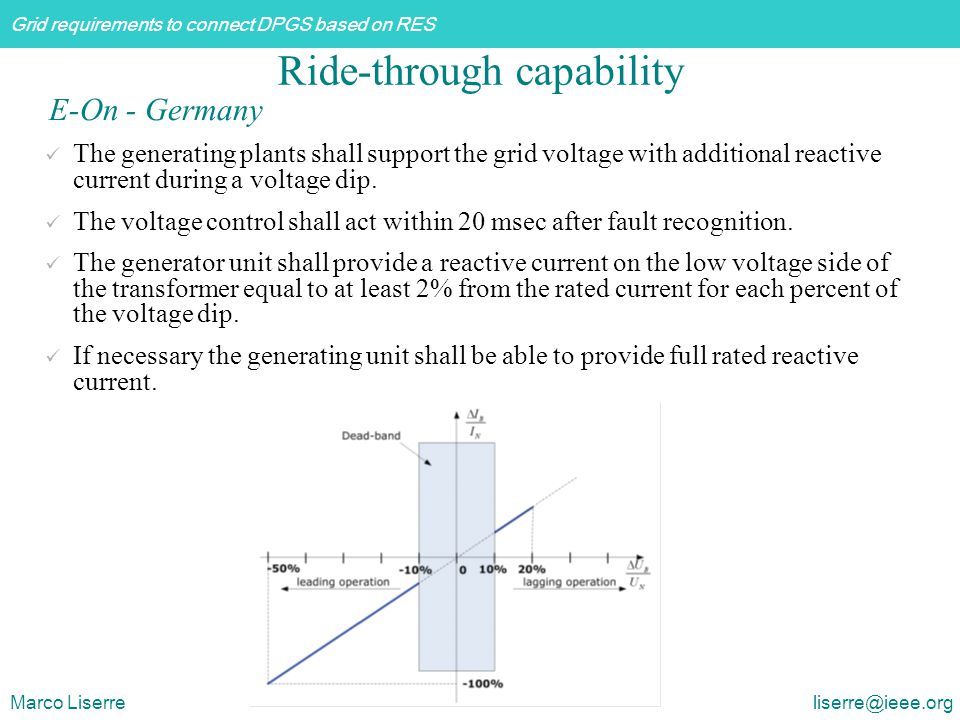 Grid requirements to connect DPGS based on RES Marco Liserre liserre@ieee.org The generating plants shall support the grid voltage with additional rea