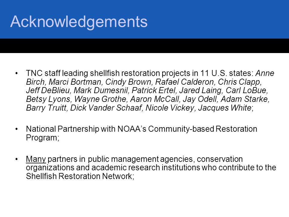 Acknowledgements TNC staff leading shellfish restoration projects in 11 U.S. states: Anne Birch, Marci Bortman, Cindy Brown, Rafael Calderon, Chris Cl