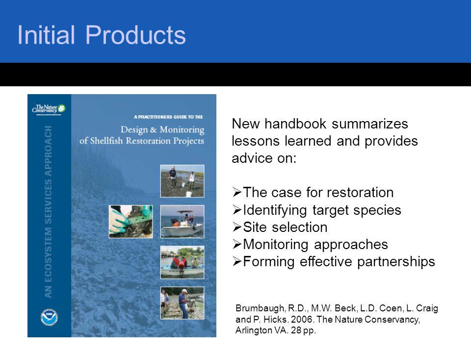 Initial Products Brumbaugh, R.D., M.W. Beck, L.D. Coen, L. Craig and P. Hicks. 2006. The Nature Conservancy, Arlington VA. 28 pp. New handbook summari