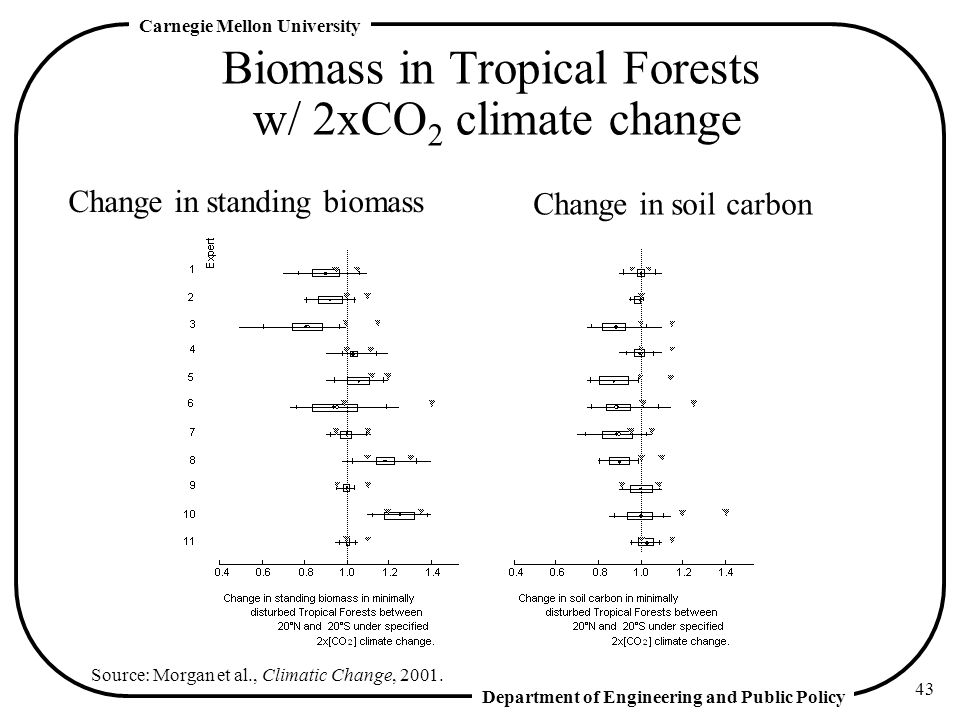 Department of Engineering and Public Policy Carnegie Mellon University 43 Biomass in Tropical Forests w/ 2xCO 2 climate change Change in standing biomass Change in soil carbon Source: Morgan et al., Climatic Change, 2001.