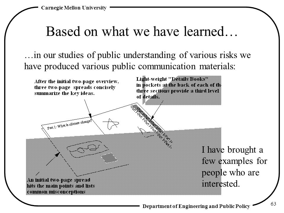 Department of Engineering and Public Policy Carnegie Mellon University 63 Based on what we have learned… …in our studies of public understanding of various risks we have produced various public communication materials: I have brought a few examples for people who are interested.