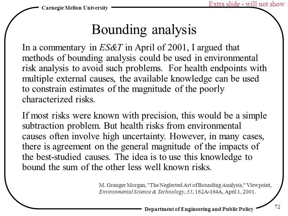 Department of Engineering and Public Policy Carnegie Mellon University 72 Bounding analysis In a commentary in ES&T in April of 2001, I argued that methods of bounding analysis could be used in environmental risk analysis to avoid such problems.