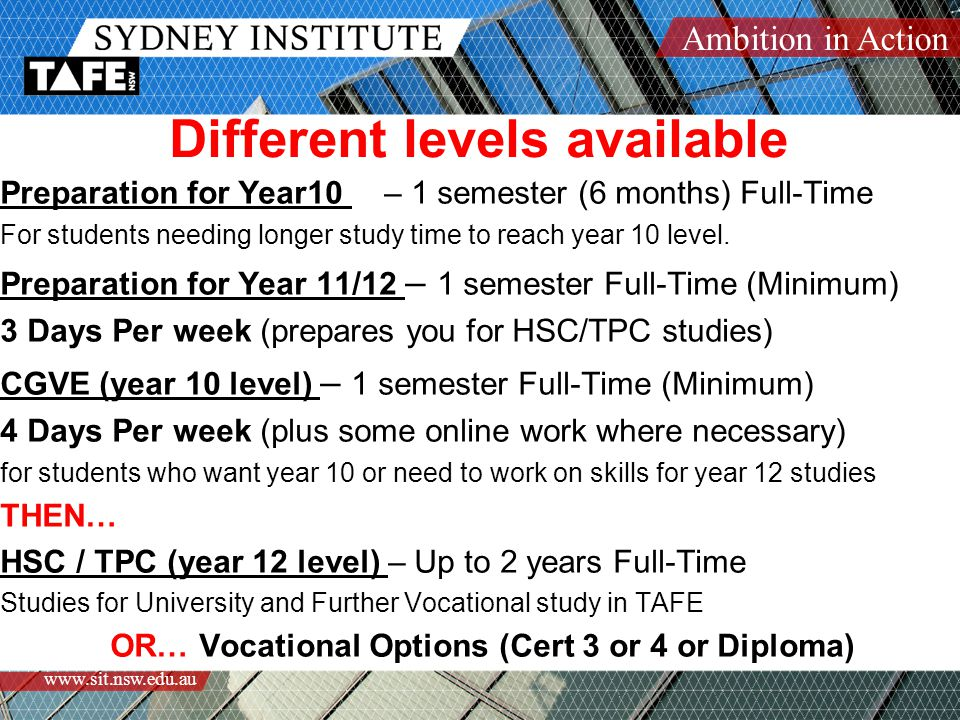 Ambition in Action www.sit.nsw.edu.au TAFE Classes are a BIG commitment You will attend classes FOUR days per week MONDAY-THURSDAY ONLY  Most classes start between 8.30 and 10.30am  Most classes finish at 5pm  Classes commence on Monday Feb 8 th 2010 This slideshow will repeat if you miss anything