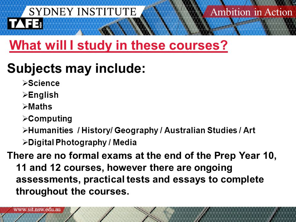 Ambition in Action www.sit.nsw.edu.au What will I study in these courses.
