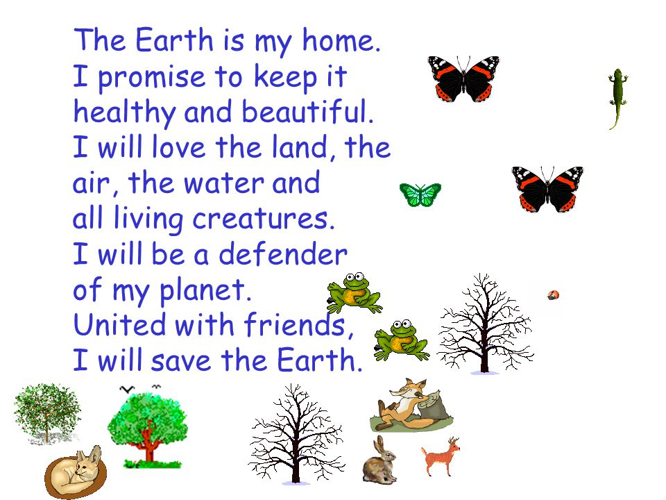 The Earth is my home. I promise to keep it healthy and beautiful. I will love the land, the air, the water and all living creatures. I will be a defen