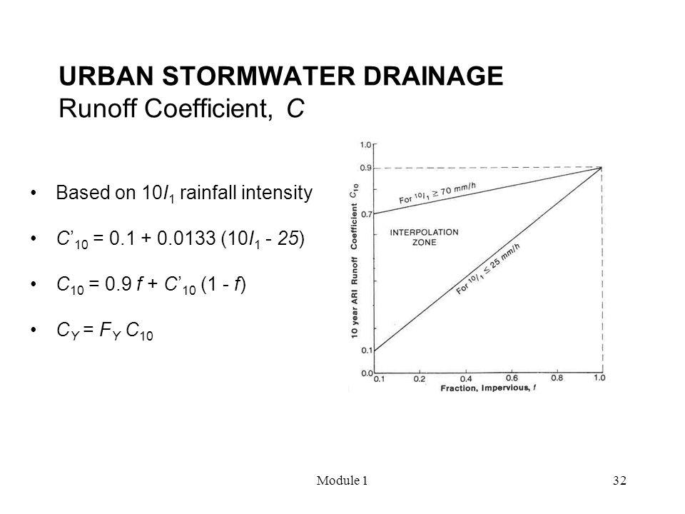 Module 132 URBAN STORMWATER DRAINAGE Runoff Coefficient, C Based on 10I 1 rainfall intensity C' 10 = 0.1 + 0.0133 (10I 1 - 25) C 10 = 0.9 f + C' 10 (1
