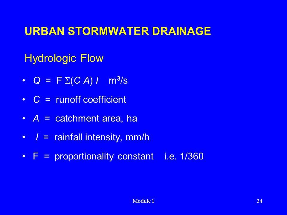 Module 134 URBAN STORMWATER DRAINAGE Hydrologic Flow Q = F  (C A) I m 3 /s C = runoff coefficient A = catchment area, ha I = rainfall intensity, mm/h