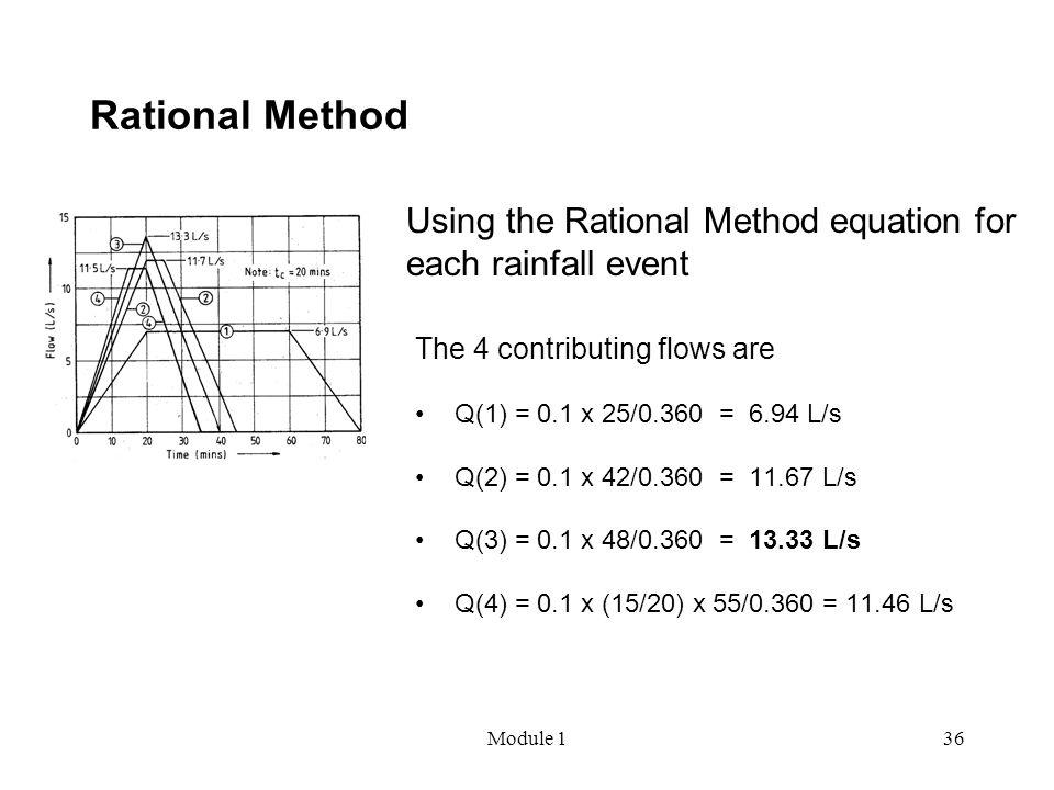 Module 136 Rational Method The 4 contributing flows are Q(1) = 0.1 x 25/0.360 = 6.94 L/s Q(2) = 0.1 x 42/0.360 = 11.67 L/s Q(3) = 0.1 x 48/0.360 = 13.