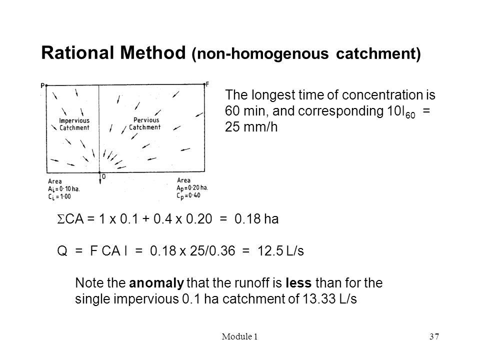 Module 137 Rational Method (non-homogenous catchment)  CA = 1 x 0.1 + 0.4 x 0.20 = 0.18 ha Q = F CA I = 0.18 x 25/0.36 = 12.5 L/s Note the anomaly th