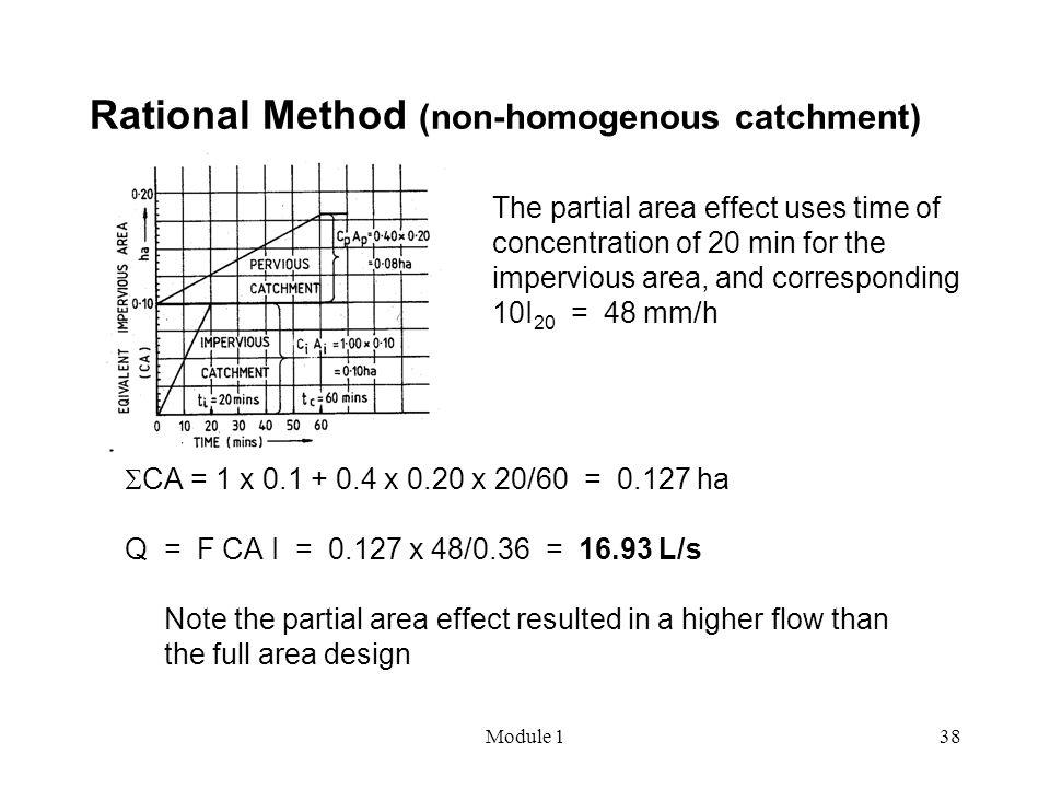 Module 138 Rational Method (non-homogenous catchment)  CA = 1 x 0.1 + 0.4 x 0.20 x 20/60 = 0.127 ha Q = F CA I = 0.127 x 48/0.36 = 16.93 L/s Note the