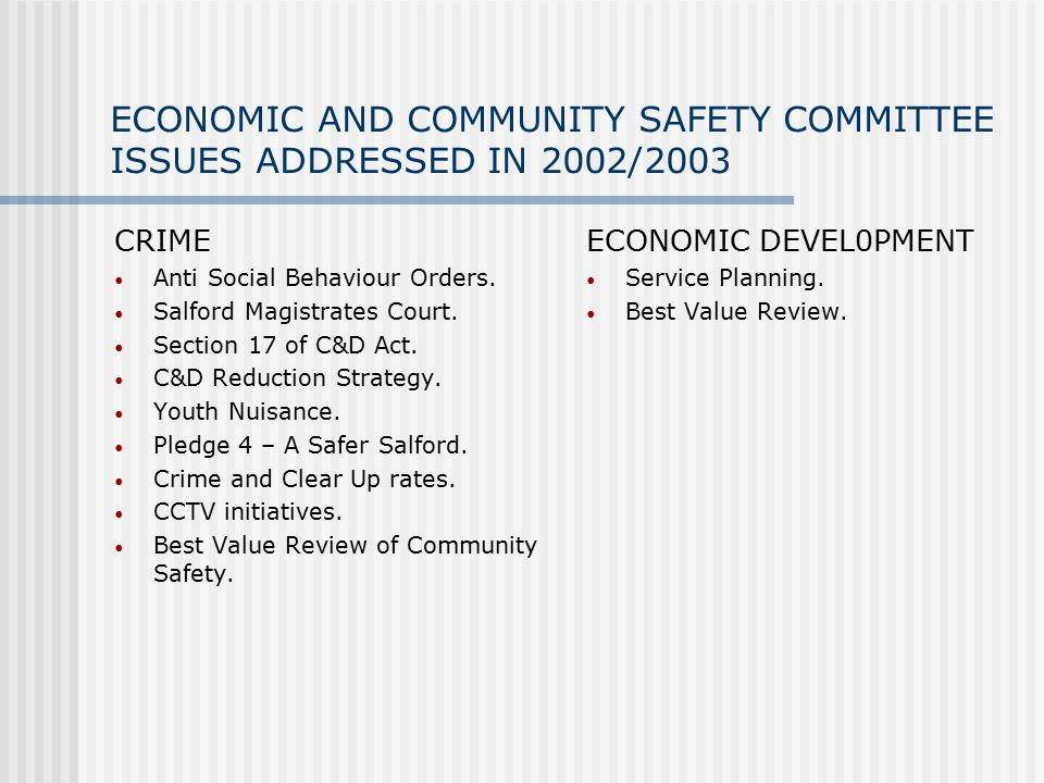 ECONOMIC AND COMMUNITY SAFETY COMMITTEE ISSUES ADDRESSED IN 2002/2003 CRIME Anti Social Behaviour Orders.