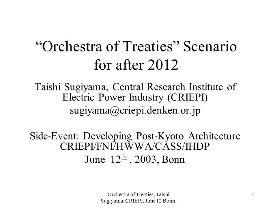 "Orchestra of Treaties, Taishi Sugiyama, CRIEPI, June 12 Bonn. 1 ""Orchestra of Treaties"" Scenario for after 2012 Taishi Sugiyama, Central Research Inst"