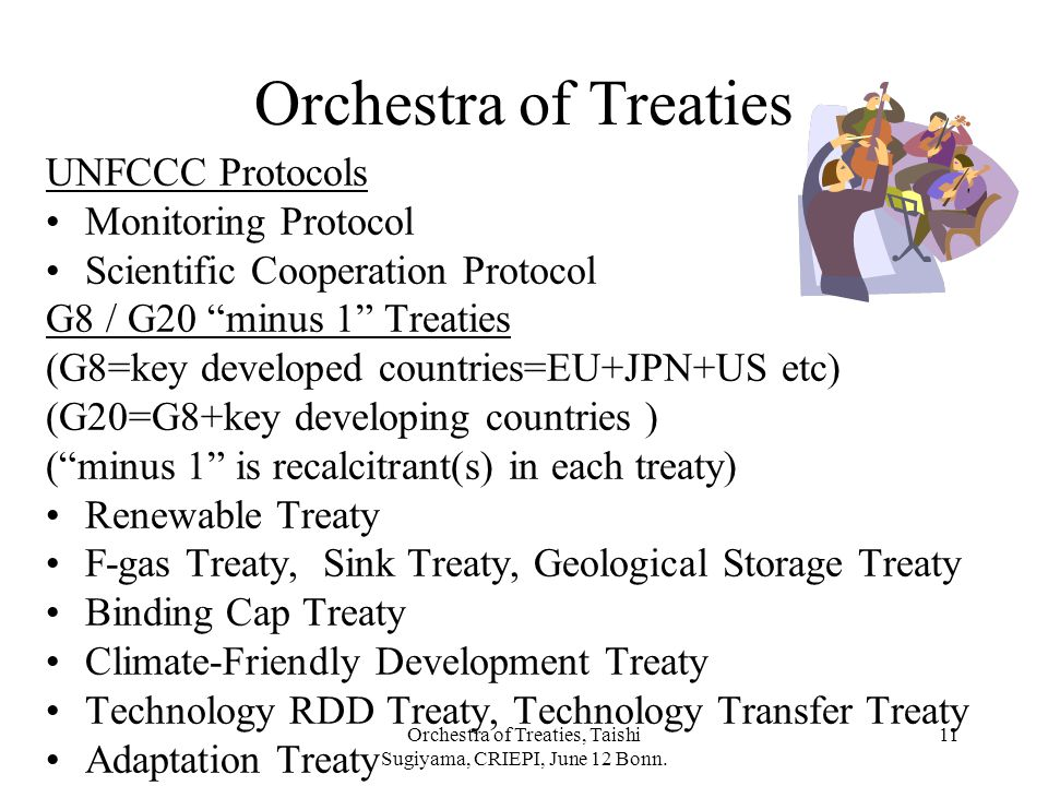 Orchestra of Treaties, Taishi Sugiyama, CRIEPI, June 12 Bonn. 11 Orchestra of Treaties UNFCCC Protocols Monitoring Protocol Scientific Cooperation Pro