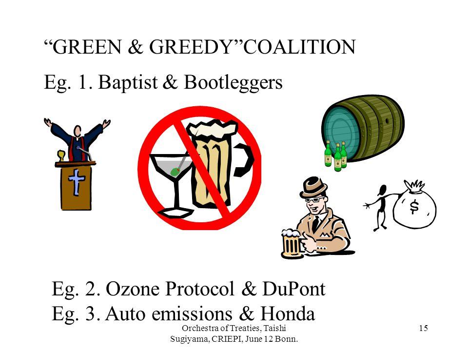 """Orchestra of Treaties, Taishi Sugiyama, CRIEPI, June 12 Bonn. 15 Eg. 1. Baptist & Bootleggers """"GREEN & GREEDY""""COALITION Eg. 2. Ozone Protocol & DuPont"""