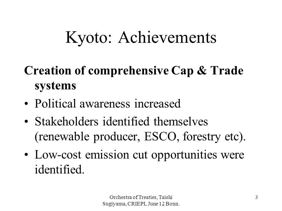 Orchestra of Treaties, Taishi Sugiyama, CRIEPI, June 12 Bonn. 3 Kyoto: Achievements Creation of comprehensive Cap & Trade systems Political awareness