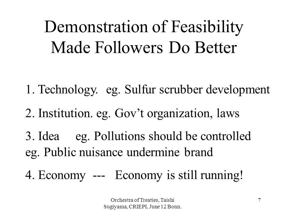 Orchestra of Treaties, Taishi Sugiyama, CRIEPI, June 12 Bonn. 7 4. Economy --- Economy is still running! 3. Idea eg. Pollutions should be controlled e