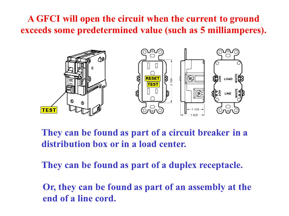 A GFCI will open the circuit when the current to ground exceeds some predetermined value (such as 5 milliamperes). They can be found as part of a circ
