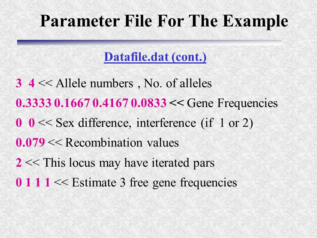 d 3 4 << Allele numbers, No. of alleles 0.3333 0.1667 0.4167 0.0833 << Gene Frequencies 0 0 << Sex difference, interference (if 1 or 2) 0.079 << Recom