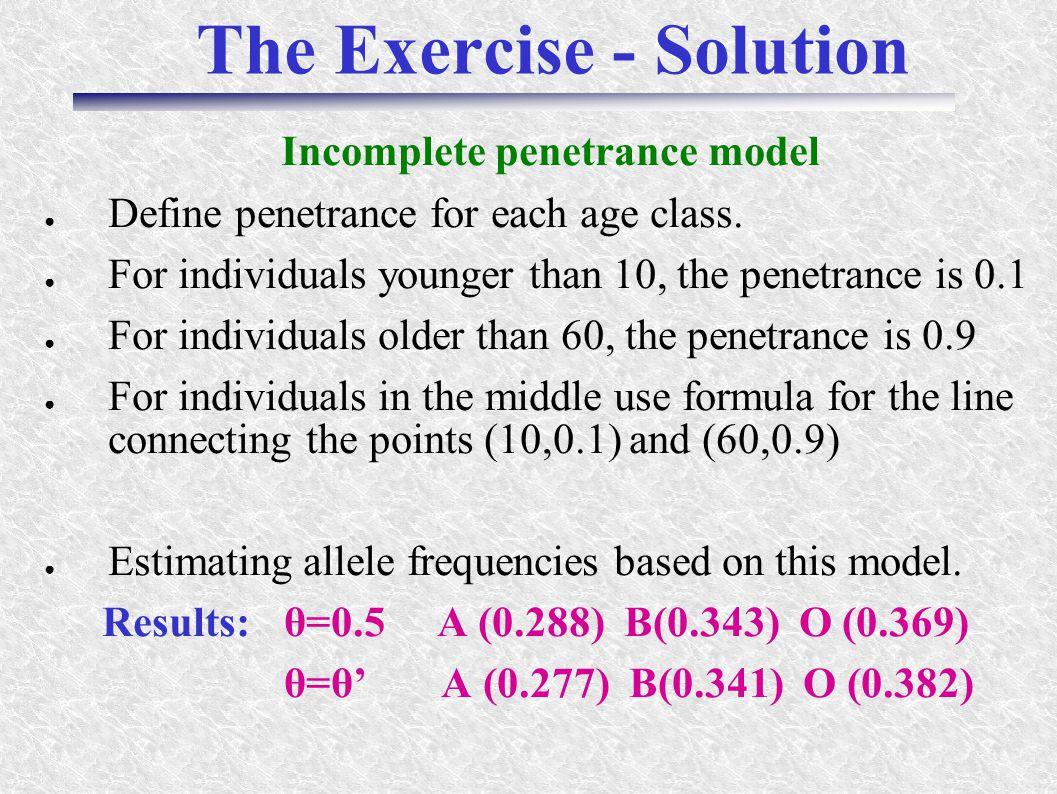 The Exercise - Solution Incomplete penetrance model ● Define penetrance for each age class.