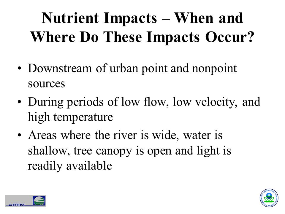 Nutrient Impacts – When and Where Do These Impacts Occur.