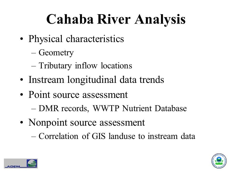 Cahaba River Analysis Physical characteristics –Geometry –Tributary inflow locations Instream longitudinal data trends Point source assessment –DMR records, WWTP Nutrient Database Nonpoint source assessment –Correlation of GIS landuse to instream data