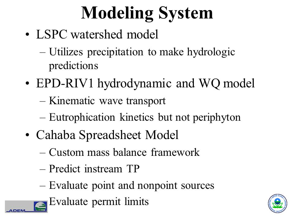 Modeling System LSPC watershed model –Utilizes precipitation to make hydrologic predictions EPD-RIV1 hydrodynamic and WQ model –Kinematic wave transpo