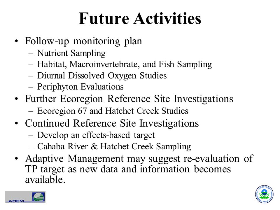 Future Activities Follow-up monitoring plan –Nutrient Sampling –Habitat, Macroinvertebrate, and Fish Sampling –Diurnal Dissolved Oxygen Studies –Periphyton Evaluations Further Ecoregion Reference Site Investigations –Ecoregion 67 and Hatchet Creek Studies Continued Reference Site Investigations –Develop an effects-based target –Cahaba River & Hatchet Creek Sampling Adaptive Management may suggest re-evaluation of TP target as new data and information becomes available.